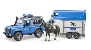 Bruder Politi Landrover med hestetrailer