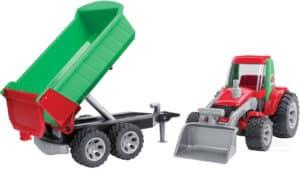 Bruder Traktor med fronlæsser og vogn