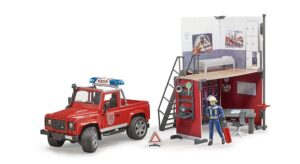 Bruder B World Brandstation med Land Rover